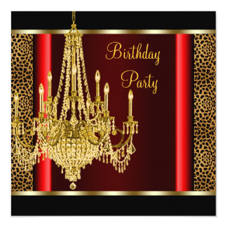 Red Gold Chandelier Leopard Birthday Party Card