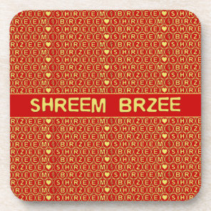 Red Gold Chant Shreem Brzee attract wealth Beverage Coaster