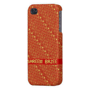Red Gold Chant Shreem Brzee attract wealth Case For iPhone 4