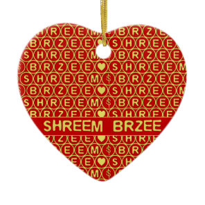 Red Gold Chant Shreem Brzee attract wealth Ceramic Ornament