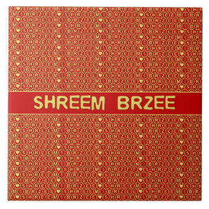 Red Gold Chant Shreem Brzee attract wealth Ceramic Tile