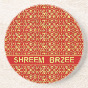Red Gold Chant Shreem Brzee attract wealth Sandstone Coaster