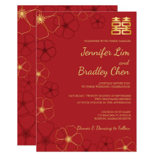 Red & Gold Cherry Blossoms Wedding Invitation Card