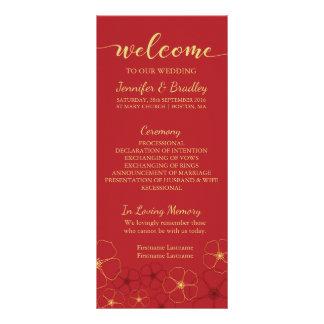 Red & Gold Cherry Blossoms Wedding Program Card