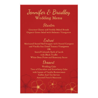 Red & Gold Cherry Blossoms Wedding Reception Menu