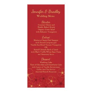 Red & Gold Cherry Blossoms Wedding Reception Menu