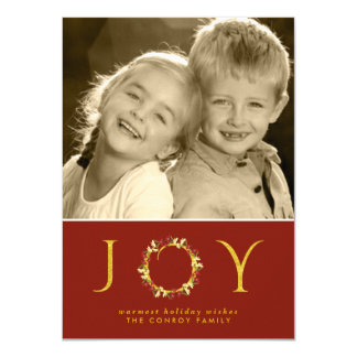 Red Gold Chic Christmas Joy Floral Wreath Photo 4.5x6.25 Paper Invitation Card