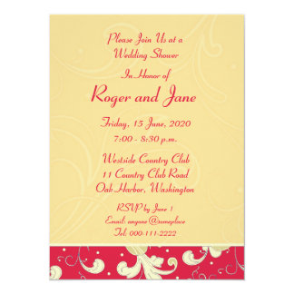 Red, Gold, Christian Cross, Bridal Shower Card
