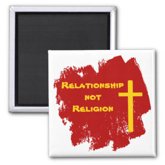 Red Gold Christian Cross Relationship Magnet