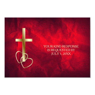 Red Gold Christian Cross Wedding RSVP Card