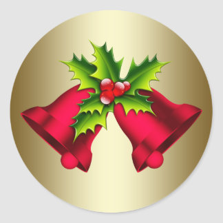 Red Gold Christmas Bells Stickers