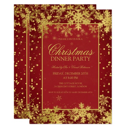Red Gold Christmas Dinner Party Winter Snowflakes Invitation