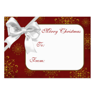 Red & Gold Christmas Gift Tags Business Card Template