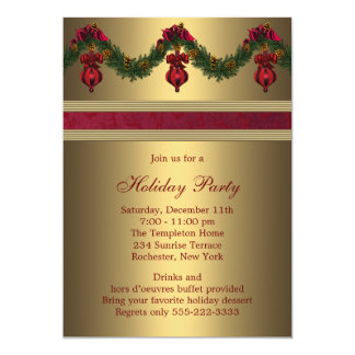 Red Gold Christmas Holiday Party 5x7 Paper Invitation Card
