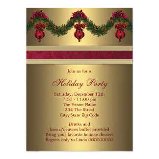 Red Gold Christmas Holiday Party 6.5x8.75 Paper Invitation Card