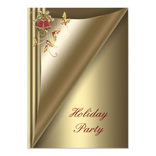 Red Gold Christmas Holiday Party Card at Zazzle