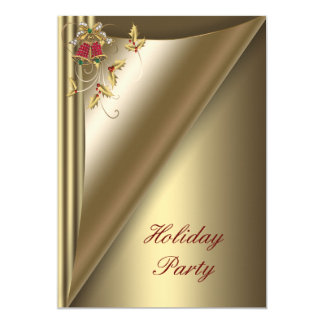 Red Gold Christmas Holiday Party Card