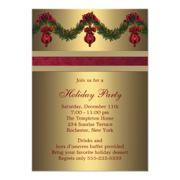 Christmas Themed Red Gold Christmas Holiday Party Card