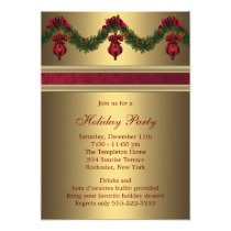 Red Gold Christmas Holiday Party Invitation