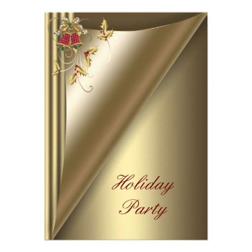 Red Gold Christmas Holiday Party Invites