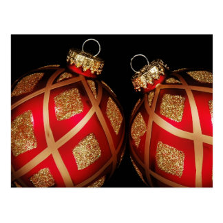 Red & Gold Christmas Ornament Postcard