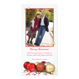 Red & Gold Christmas Ornaments Photo Card Template