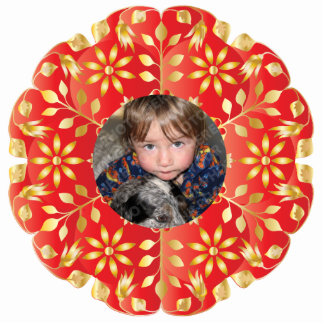 Red & Gold Christmas Photo Ornament Frame