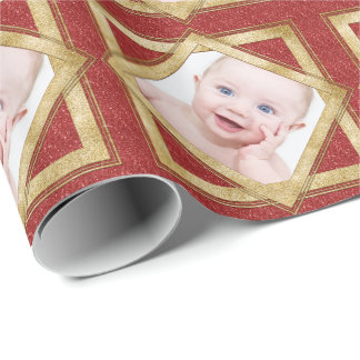 Red Gold Christmas Photo Template Personalized Gift Wrap Paper