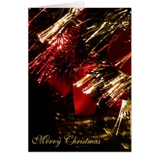 Red Gold Christmas Tree Greeting Card