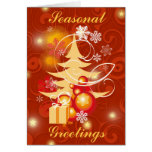 Red & Gold Christmas tree scene Greeting Cards