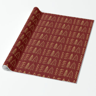 Red Gold Christmas Trees Pattern Modern Wrapping Paper