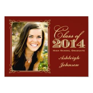 Red, Gold Class of 2014 Photo Graduation Invite