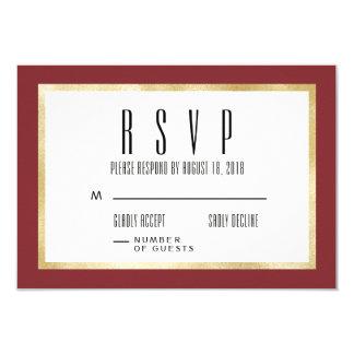 Red + Gold Classic Wedding Invitation RSVP Card