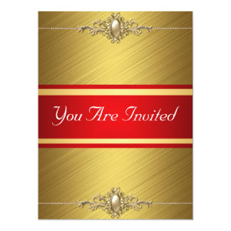 Red Gold Color Birthday Party 6.5x8.75 Paper Invitation Card