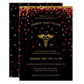 Red & Gold Confetti Nursing Graduation Invitation