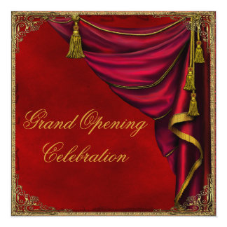 Red Gold Corporate Business Grand Opening Card
