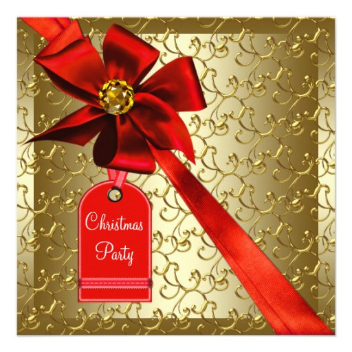 Red Gold Corporate Christmas Party Announcements