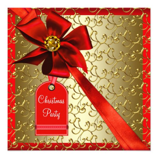 Red Gold Corporate Christmas Party Invitations