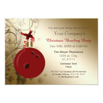 red gold Corporate holiday Bowling party Invite