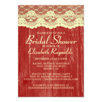 Red & Gold Country Lace Bridal Shower Invitations