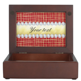 Red Gold Crisscross Lines and Diamonds Keepsake Box