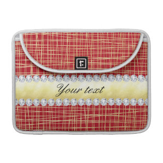Red Gold Crisscross Lines and Diamonds Sleeve For MacBooks