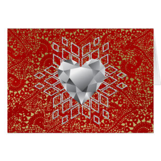 Red & Gold Crochet Lace Diamond Heart Snowflake Card