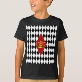 Red gold Crown & black and white Diamonds T-Shirt