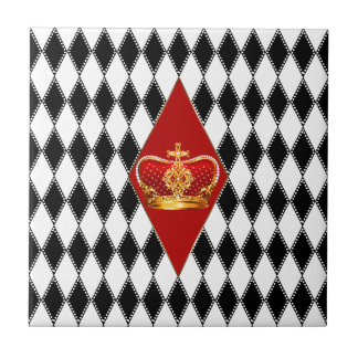 Red gold Crown & black and white Diamonds Tile
