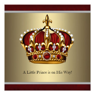 Red Gold Crown Little Prince Boy Baby Shower Custom Announcements