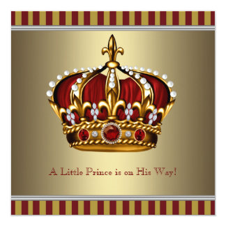 Red Gold Crown Little Prince Boy Baby Shower Custom Announcement