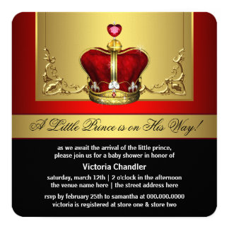Red Gold Crown Prince Baby Shower Card