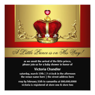 Red Gold Crown Prince Baby Shower Invitations