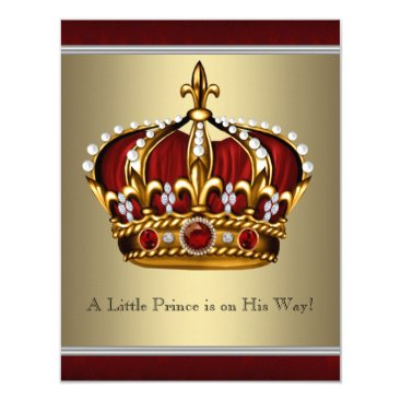 Toddler & Baby themed Red Gold Crown Prince Boy Baby Shower Card